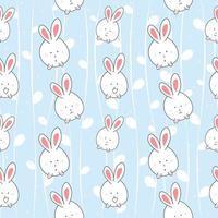 Cute cartoon rabbit pattern vector