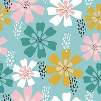 Hand drawn pastel floral pattern vector