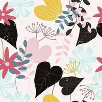 Seamless sweet flower and leaves patterns vector