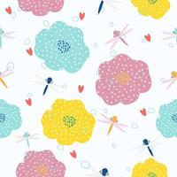 Colorful abstract hand drawn floral pattern vector