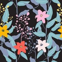 Cute vintage hand drawn flower pattern vector