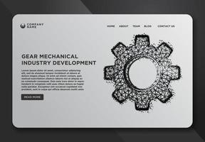 Plantilla de página web de rueda dentada mecánica de engranajes vector