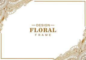 Artistic decorative golden floral frame vector