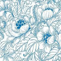 Elegant ethnic decorative blue floral pattern