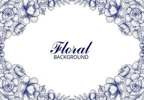 Hand drawn blue botanical floral frame vector
