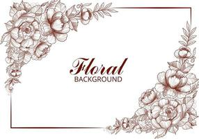 Hand draw brown botanical floral card and frame vector