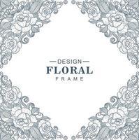 Decorative sketch floral pattern diamond frame vector