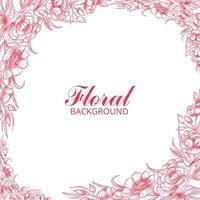 Beautiful wedding decorative pink floral frame design vector
