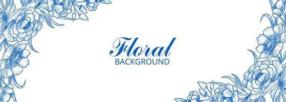 Modern decorative blue floral frame banner vector