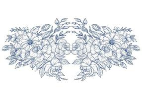 Hand draw blue botanical floral card on white vector
