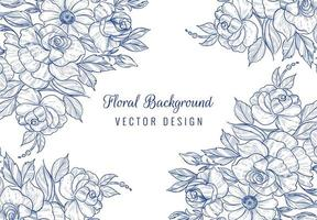Hand drawn blue botanical floral card on white vector