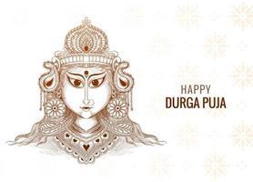 Happy durga puja decorative sketch  design
