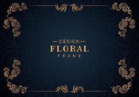 Ornament floral frame on blue vector