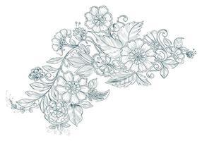 Artistic vintage decorative wedding flower sketch