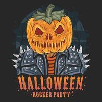 Halloween pumpkin head with rocker jacket  vector