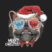 Christmas pug with Santa Claus hat design  vector