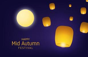 Mid autumn festival design with moon and burning lanterns vector