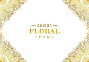 Beautiful golden gradient floral frame vector