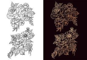 Beautiful decorative sketch floral set vector
