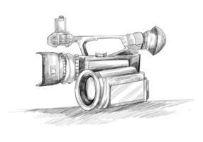 Hand drawn video camera sketch vector