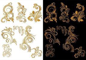artístico conjunto floral decorativo dorado vector
