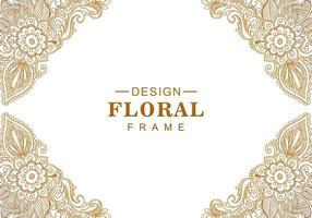 Ethnic decorative golden floral frame
