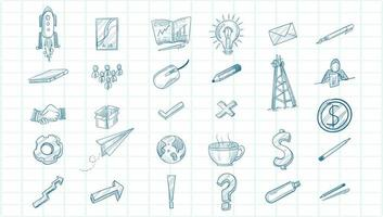 Technology sketch icon set vector