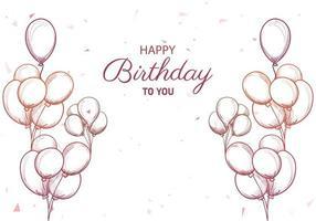 dibujado a mano feliz cumpleaños para ti saludo