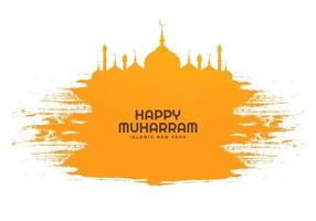 Happy muharram islamic new year holiday in yellow