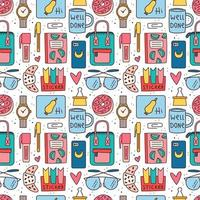 Back to school and office themed seamless pattern vector