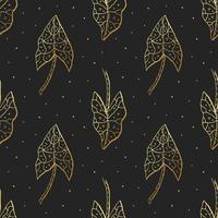 Gold foliage seamless pattern vector