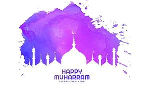 Happy muharram religious card in purple