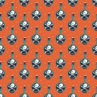 Halloween Seamless Pattern with Poison Bottle vector