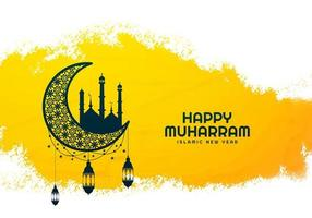 Beautiful islamic new year muharram holiday card