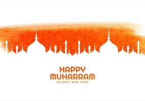 Happy Muharram holiday card mosbackground vector