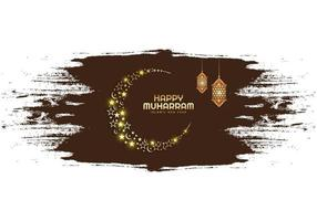 Beautiful islamic new year festival card in brown