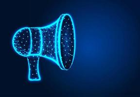 Megaphone on glowing dark background vector