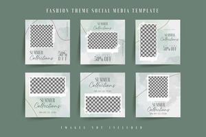 Green watercolor social media post template  vector