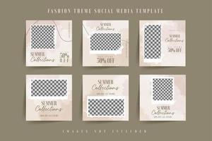 Social media post template watercolor brown vector