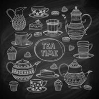 hora do chá, conjunto de ícones de esboço