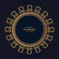 Ornamental golden circular frame background vector