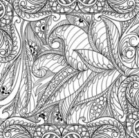 Modern decorative hand drawn floral pattern  vector