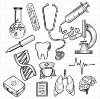 conjunto de bocetos de icono médico dibujado a mano vector