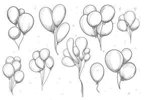 conjunto de globos de cumpleaños dibujados a mano