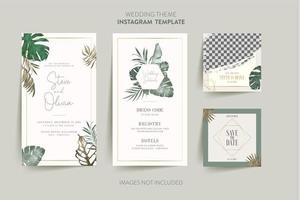 Invitation card with tropical flower hexagon