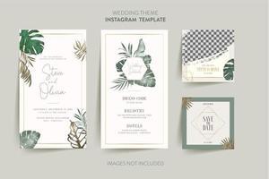 tarjeta de invitación con hexágono de flores tropicales