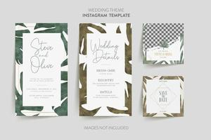 Tropical flower and leaves on save the date cards