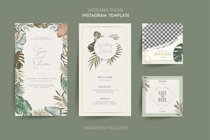 Sage wedding invitation with tropical flower
