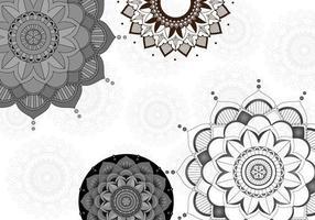 Gray, Black Background Design with Mandala Patterns