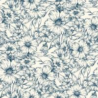 Blue flowers seamless pattern background